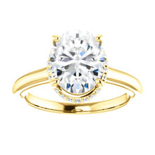 Oval Solitaire & Hidden Halo Engagement Ring - I Heart Moissanites