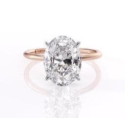 2ct Oval Crushed Ice Thin Band Two Tone Engagement Ring