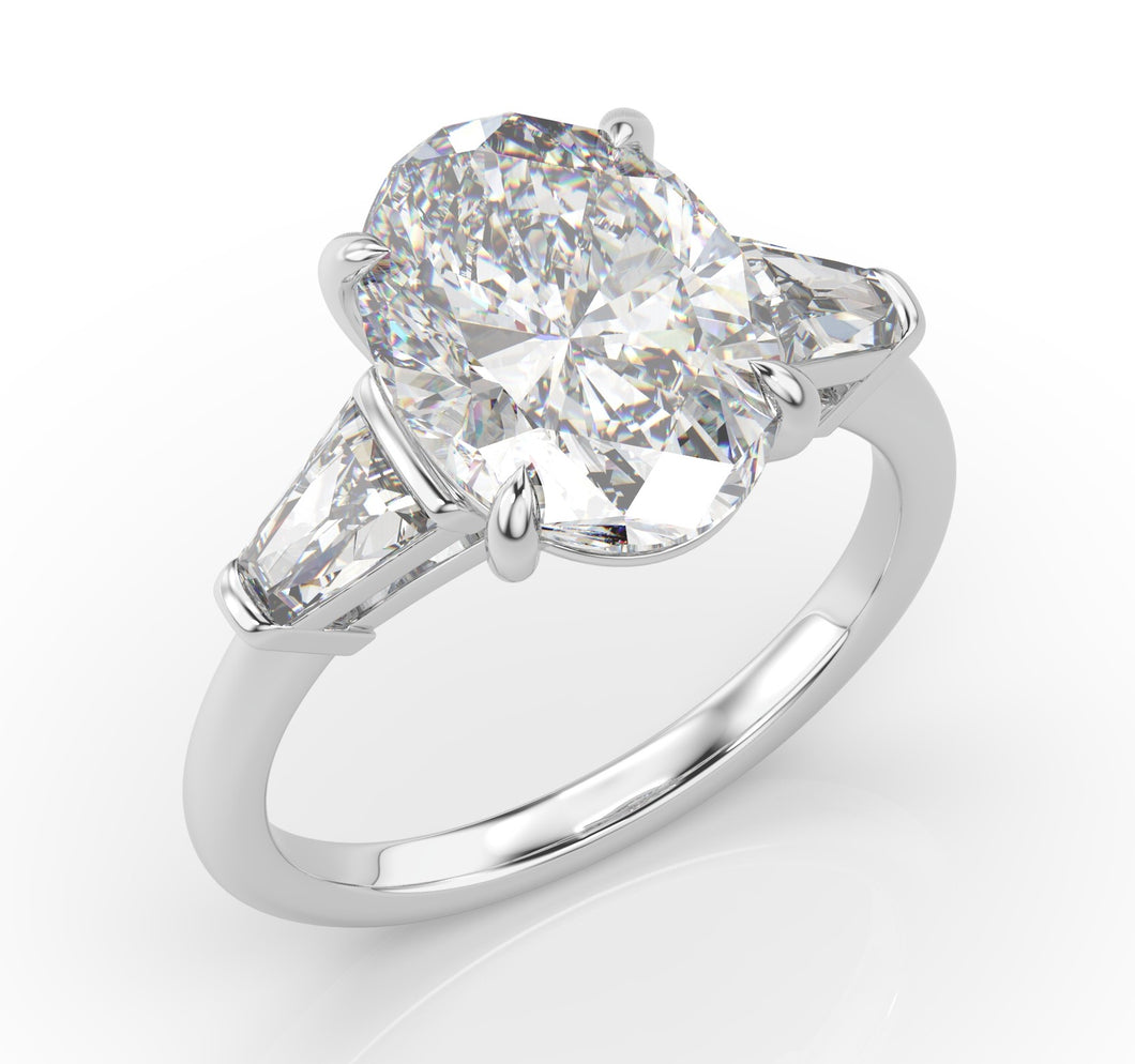5ct Oval & Tapered Baguette Engagement Ring