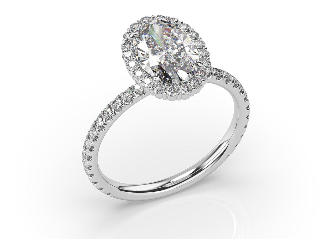2.50ct Oval Moissanite & Diamond Engagement Ring #243
