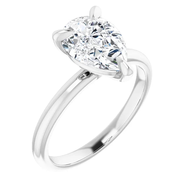Pear Thin Band Solitaire Engagement Ring