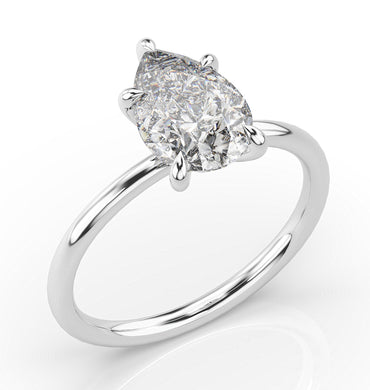 Pear Five Claw Thin Band Solitaire Engagement Ring