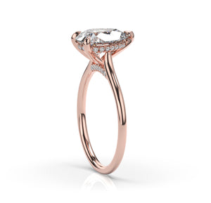 Pear Hidden Halo Thin Band Engagement Ring
