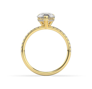 Pear Hidden Halo Engagement Ring