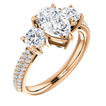 Pear Tri -Stone Accent Engagement Ring - I Heart Moissanites