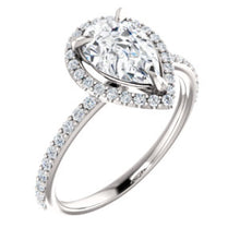 Pear Halo Style Engagement Ring - I Heart Moissanites