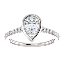 Pear Bezel Style Engagement Ring - I Heart Moissanites