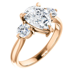 Pear Accent Engagement Ring - I Heart Moissanites