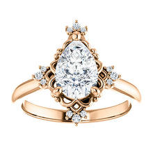 Pear Antique Inspired Design Engagement Ring