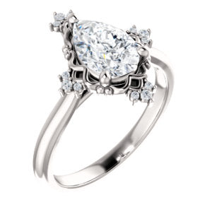 Pear Diamond Antique Inspired Design Engagement Ring