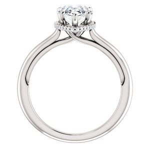 Pear Solitaire & Hidden Halo Engagement Ring - I Heart Moissanites