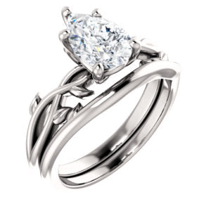 Pear Solitaire Leaf Design Engagement Ring - I Heart Moissanites