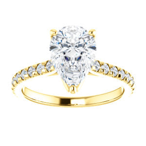 Pear Claw Set Eternity Style Engagement Ring - I Heart Moissanites