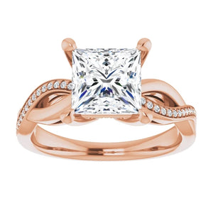 Princess Claw Set Twist Style Engagement Ring