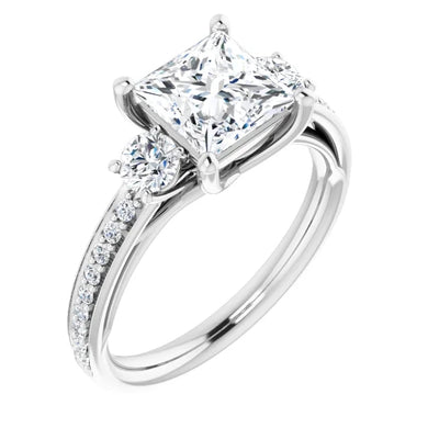 Princess Tri -Stone Accent Engagement Ring