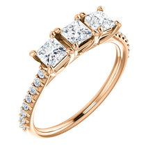 Princess Tri -Stone Style Engagement Ring - I Heart Moissanites