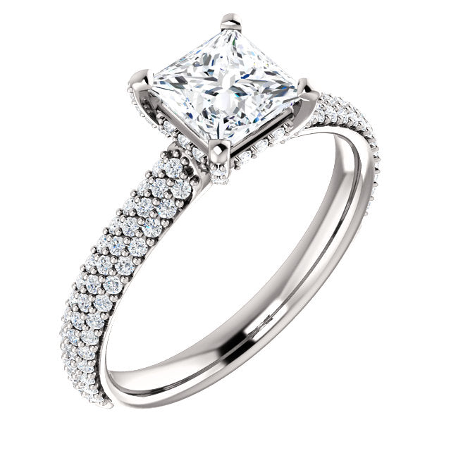 Princess Hidden Halo Pave Style Engagement Ring - I Heart Moissanites