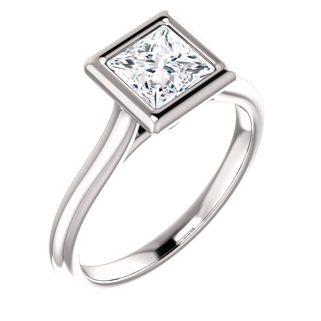 Solitaire Princess Cut Bezel Engagement Ring - I Heart Moissanites