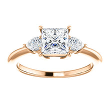 Princess Tri -Stone Style Pear Accent Engagement Ring - I Heart Moissanites