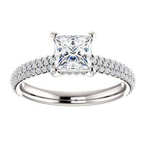 Princess Pave Style Engagement Ring - I Heart Moissanites