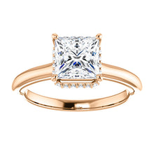 Princess Solitaire & Hidden Halo Engagement Ring - I Heart Moissanites