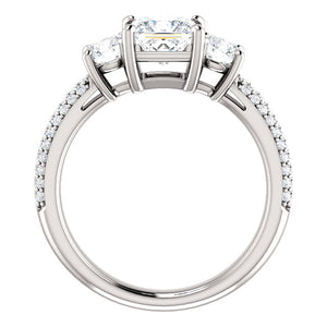 Princess Tri -Stone Accent Engagement Ring - I Heart Moissanites