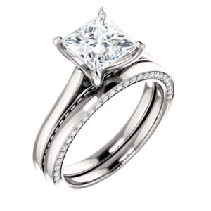 Princess Solitaire & Hidden Diamond Band Engagement Ring - I Heart Moissanites