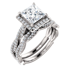 Princess Twist Halo Style Engagement Ring - I Heart Moissanites