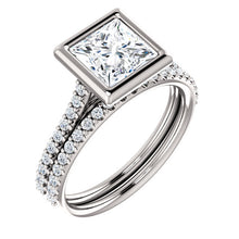 Princess Bezel Style Engagement Ring - I Heart Moissanites