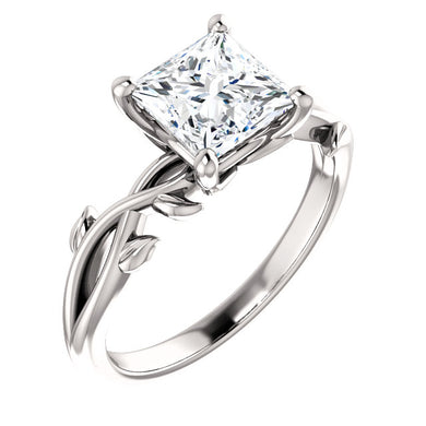 Princess Solitaire Leaf Design Engagement Ring - I Heart Moissanites