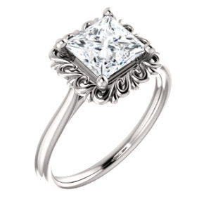 Princess Solitaire Antique Inspired Design Engagement Ring