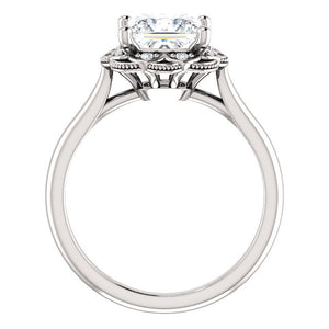 Princess Diamond Antique Inspired Design Engagement Ring