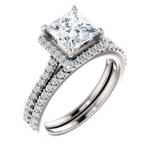 Princess Halo & Heart Style Engagement Ring - I Heart Moissanites