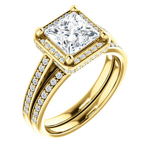 Princess Halo Style Engagement Ring - I Heart Moissanites