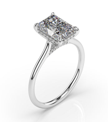 Radiant Hidden Halo Thin Band Engagement Ring
