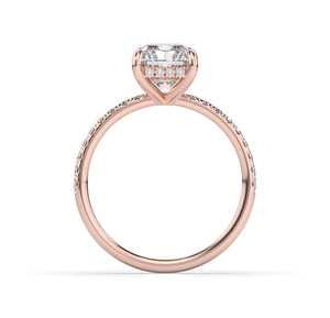 Radiant Hidden Halo Engagement Ring
