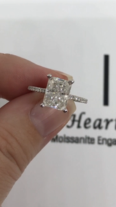 Hidden Halo Diamond Band Engagement Ring - I Heart Moissanites