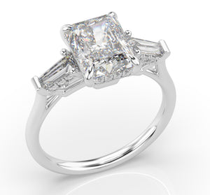 3ct Radiant & Baguette Engagement Ring