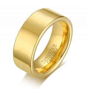 Tungsten Gold Finish Flat 8mm Men's Ring
