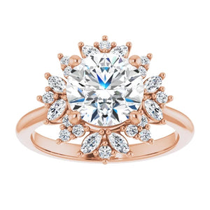Round Brilliant Antique Inspired Design Engagement Ring