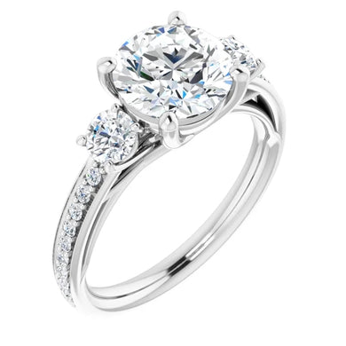 Round Brilliant Tri -Stone Accent Engagement Ring