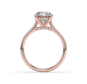 Round Brilliant Hidden Halo Thin Band Engagement Ring