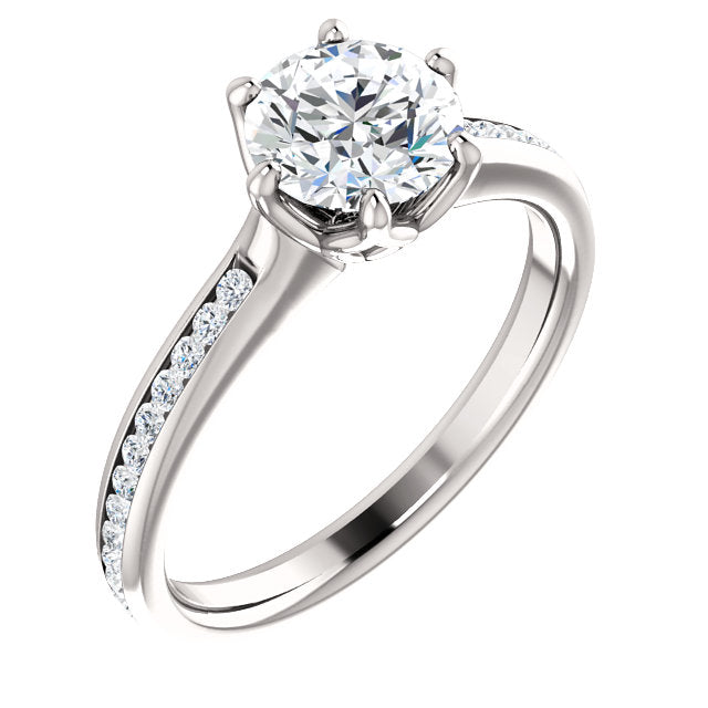 Round Brilliant Six Claw Channel Set Style Engagement Ring - I Heart Moissanites