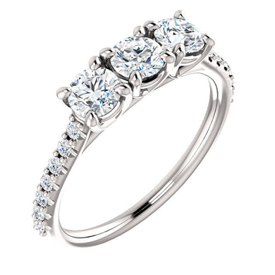 Round Brilliant Tri -Stone Style Engagement Ring - I Heart Moissanites