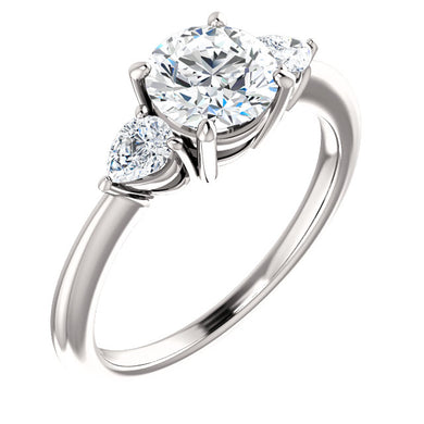 Round Brilliant Tri -Stone Style Pear Accent Engagement Ring - I Heart Moissanites