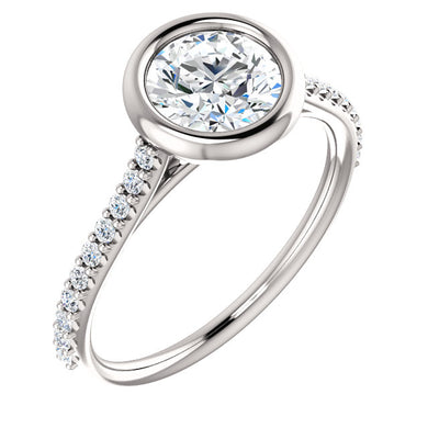 Round Brilliant Bezel Style Engagement Ring - I Heart Moissanites
