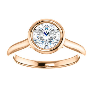 Solitaire Round Brilliant Cut Bezel Engagement Ring - I Heart Moissanites