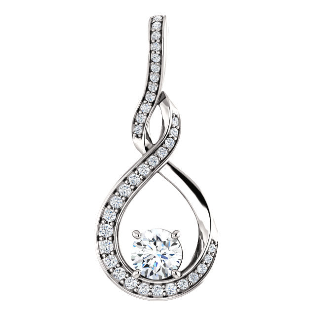 Round Claw Set Diamond Drop Style Pendant - I Heart Moissanites