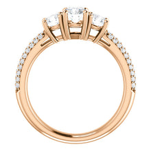 Round Brilliant Tri -Stone Accent Engagement Ring - I Heart Moissanites