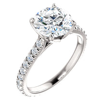 Round Brilliant Claw Set Eternity Style Engagement Ring - I Heart Moissanites